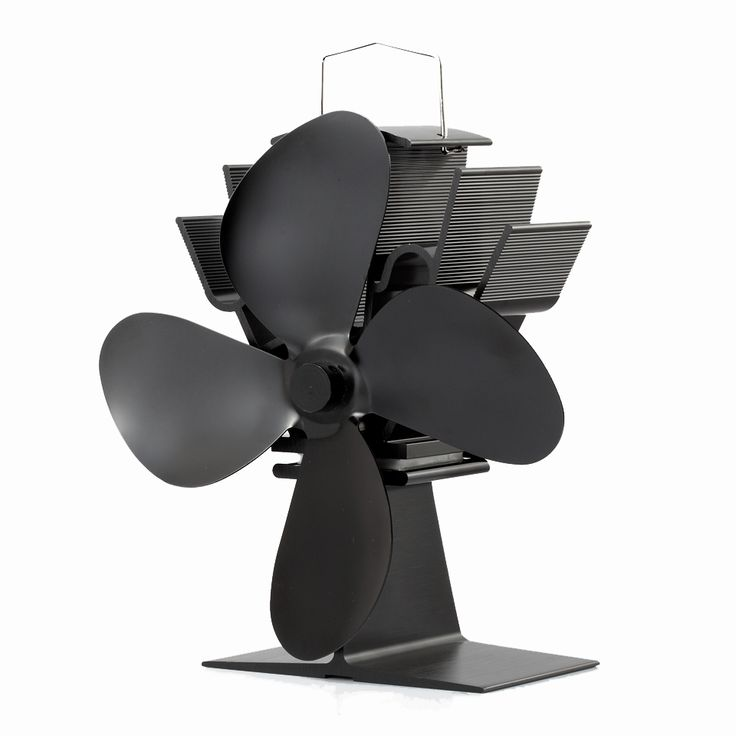 Mini Wood Burning Stove Fan 4-Blade Anodizing Aluminum Black Eco-Friendly Stove Fan
