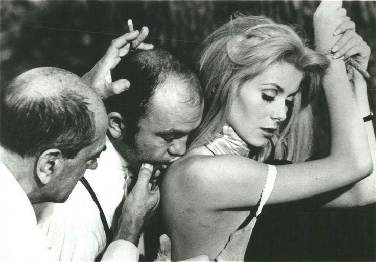 "Luis Bunuel, Michel Charrel & Catherine Deneuve on the set of ""Belle de jour"", 1967"
