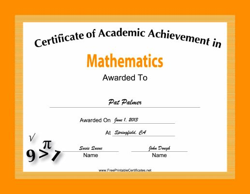 Printable Math Awards  Free Achievement Certificates