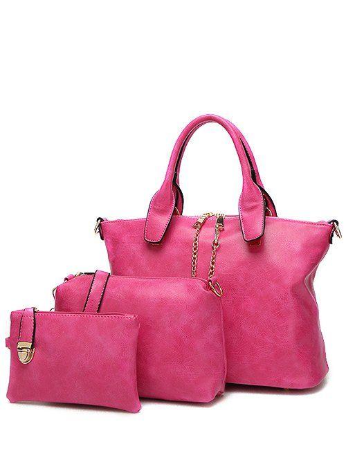 Metal Chains PU Leather Handbag - ROSE RED