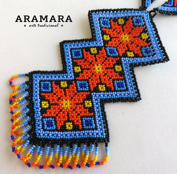 Mexican Huichol Beaded Tribal Necklace and Earrings Set by Aramara