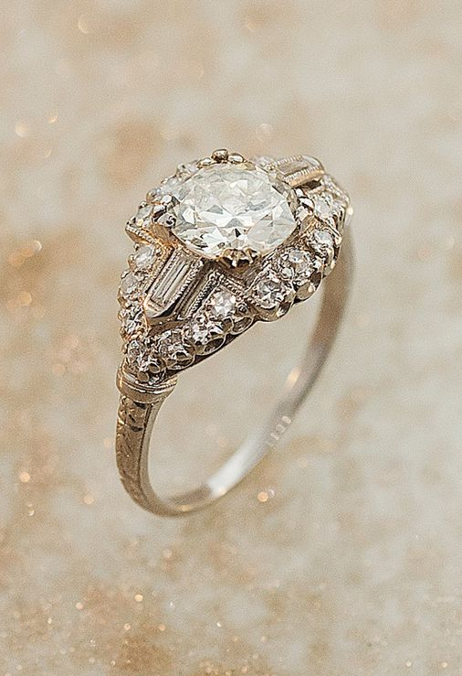 Antique art deco old European cut diamond ring