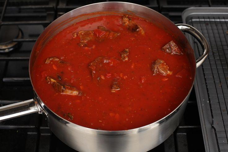 Italian gravy with neck bones - only the best gravy you'll ever make!