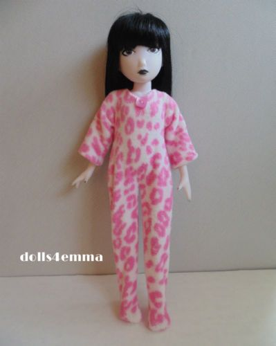EMILY THE STRANGE Doll Clothes Handmade PAJAMAS Pink Cheetah Fleece $14.00 on ebay - by dolls4emma