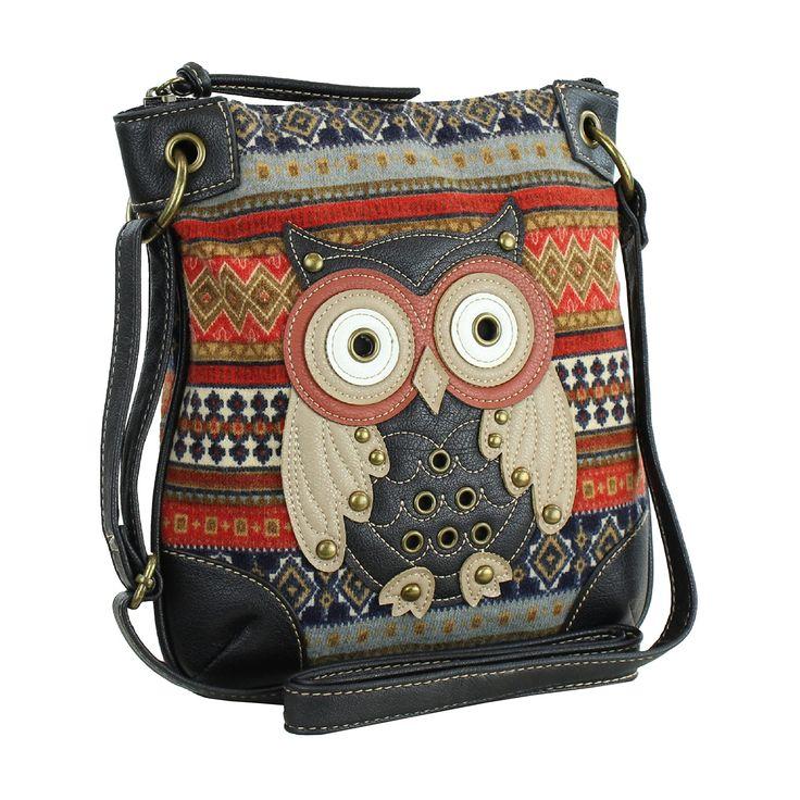 Orange Messenger Bag w/ Studded Patchwork #Owl Applique, Tribal Crossbody Purse: Handbags: ~Amazon.  <3