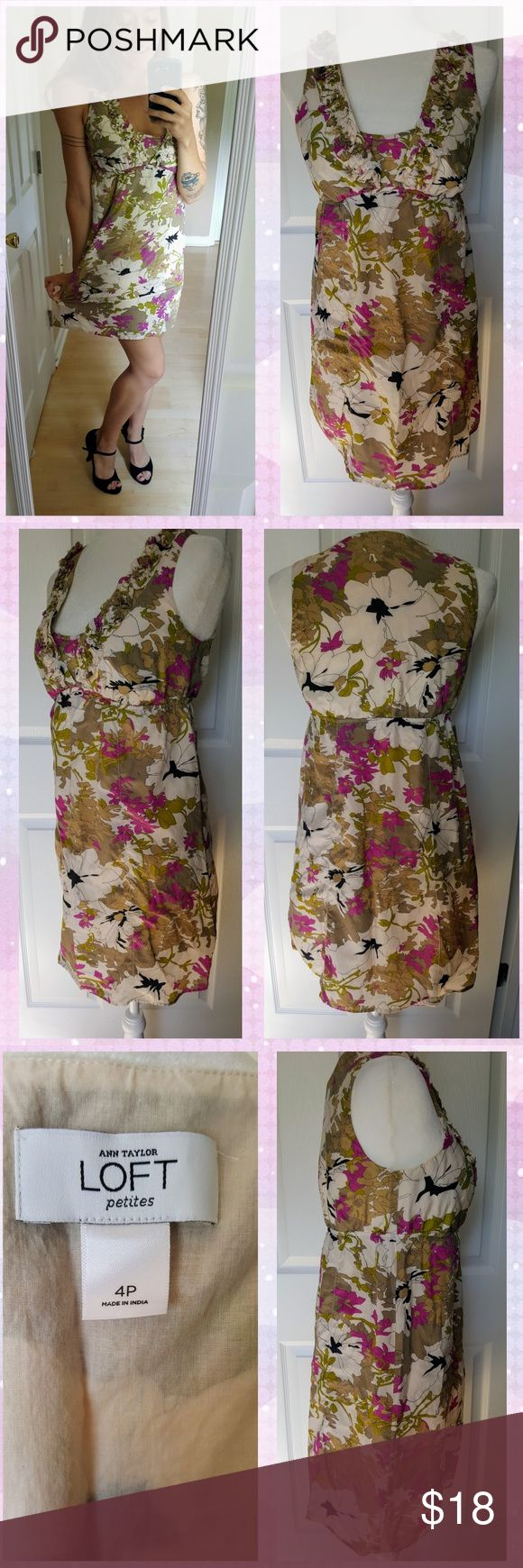 Ann Taylor LOFT Petites 4P Silk Blend Dress Perfect condition! Worn and washed once. No signs of wear. Pristine!  Gorgeous floral dress! Fully lined, V-neck cut with extra lining for cute coverage and modesty. Perfect for any occasion, career or casual. Super lightweight and comfortable. Stretchy, fitted waist. Fun and pretty details where hems on body of the dress would be, with tiny crochet like details. Ivory, Black, Green, and Purple.   Shell: 55% Silk, 45% Cotton Lining: 100% Cotton…