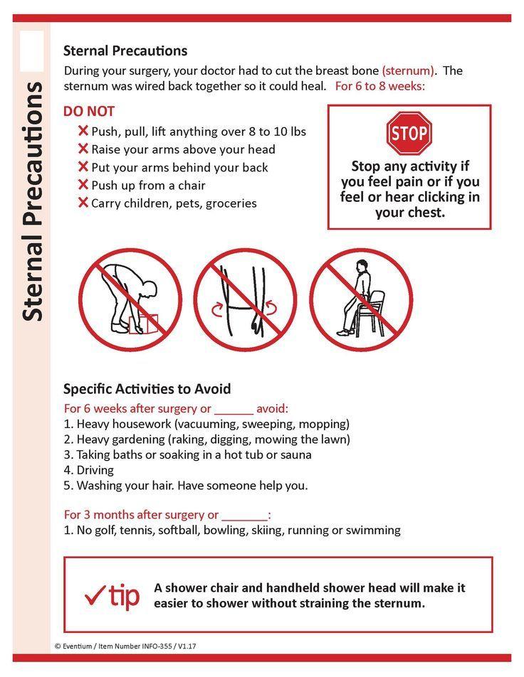 Really Helpful Sternal Precautions Handout Ot Sternal