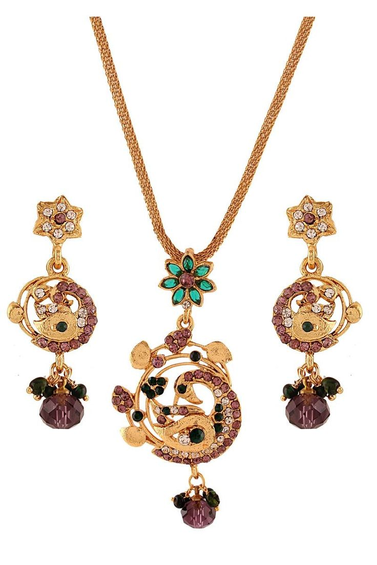 Green gold plated austrian diamond pendant set products