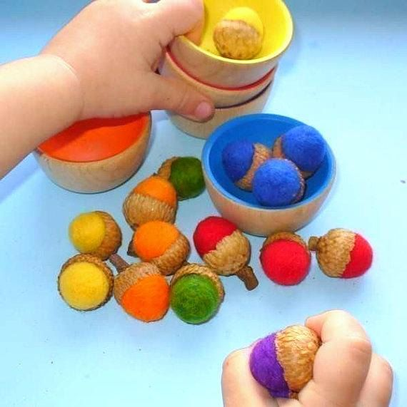 Back to School / Wooden Toy - The ORIGINAL Rainbow Wooden Sorting Bowls, Montessori Educational Toy  / Waldorf Toy