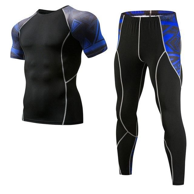 Gym Suit Men'S Sports Fitness Quick Dry Jerseys 3D Printed Tight Trousers Skin Compression Set Men Mma Rashguard Base Layer Sets