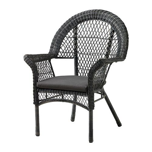 LÄCKÖ Armchair with pad IKEA Hand woven plastic rattan, with the same expressions as natural rattan but durable for outdoor use.