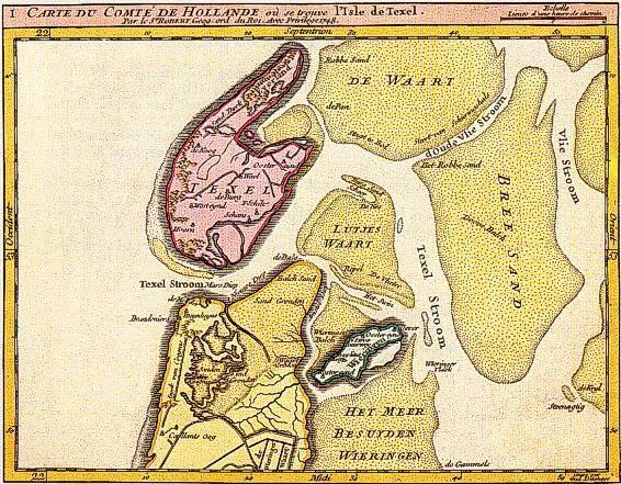 Het Marsdiep en de Texelstroom in 1748 volgens de kaart van Robert, geograaf in dienst van de koning van Frankrijk