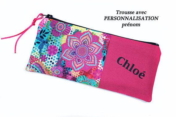 rentrée des classes : trousse à crayons personnalisable fille en tissu coloré