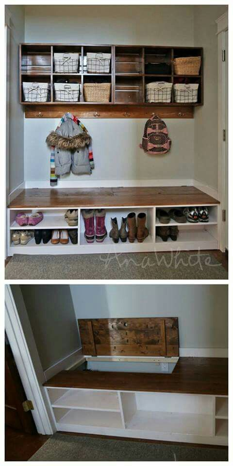 Mudroom Storage Bins : Clever having storage bin in the back and shelves