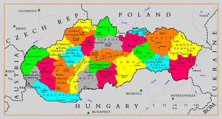 slovakia | Description Tourism regions of Slovakia en.png