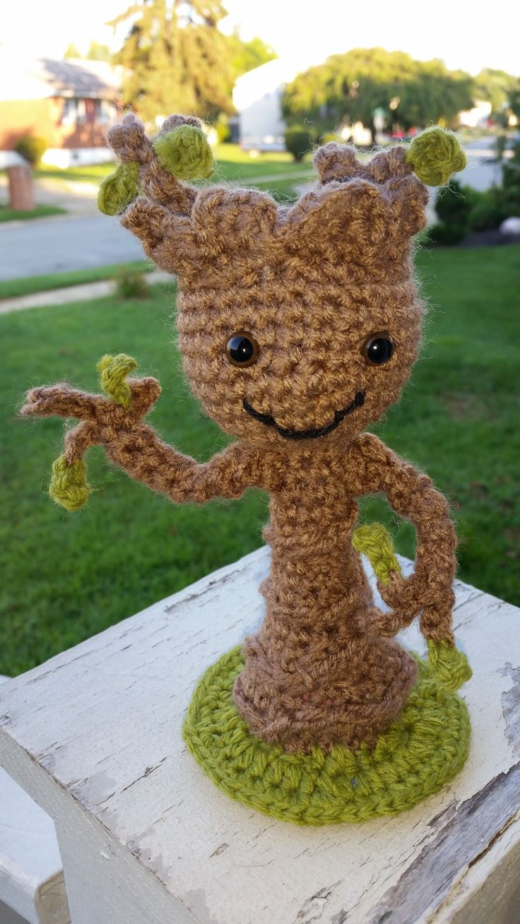 crochet BABY GROOT.         to order https://www.facebook.com/DeniseOriginalCrochetedCreations?ref=hl