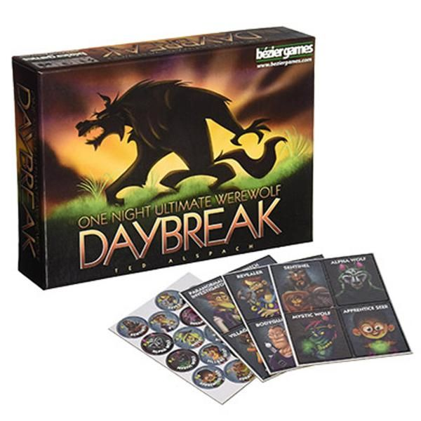 This is the One Night Ultimate Werewolf Daybreak Card Game that is produced by Bezier Games. One Night Ultimate Werewolf Daybreak is a fast paced game and each