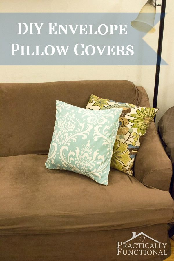 Simple DIY envelope pillow covers; they'll add a pop of color to your couch in under an hour!