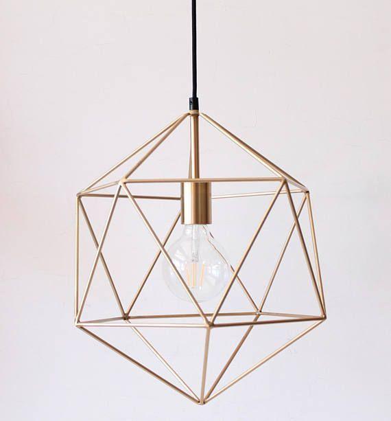 Gold Pendelleuchte Kronleuchter Beleuchtung Geometrische Polyeder
