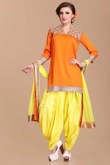 Orange Yellow Viscose Embroidered Patiala Salwar Suit - 1501