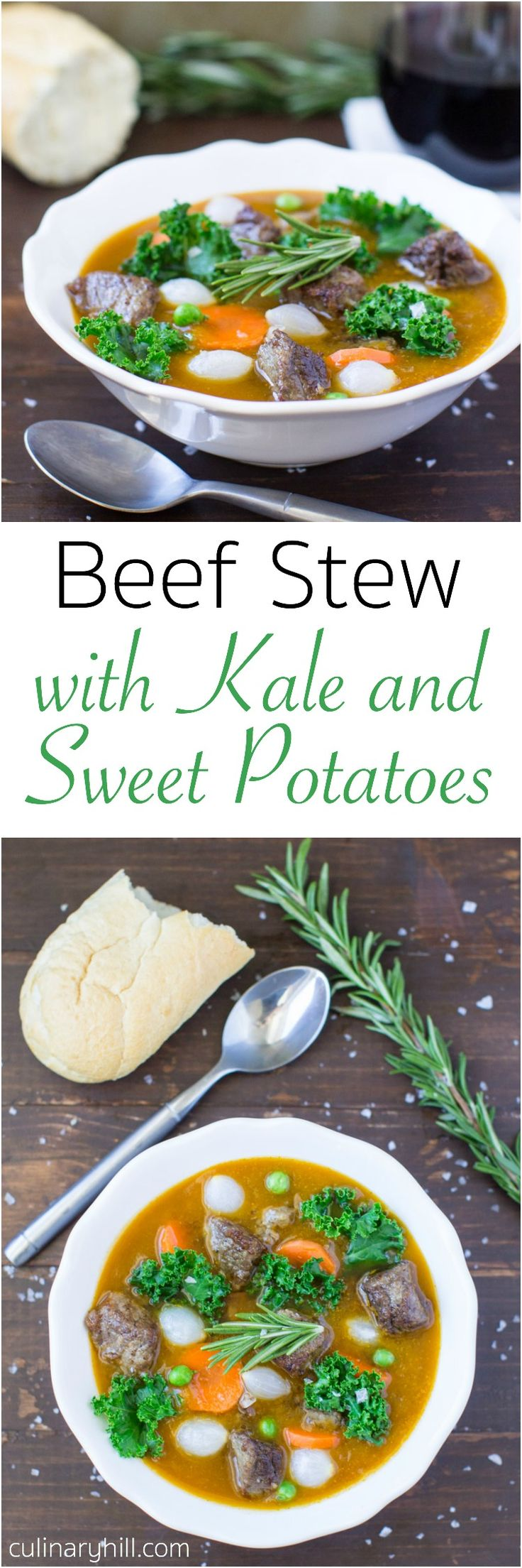 Beef Stew is upgraded to premium nutritional status when it's thickened with sweet potatoes, seasoned with fresh rosemary, and loaded with chopped kale.