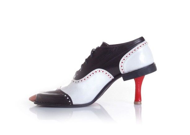 A shoe within a shoe creates an exciting, mysterious and kinky silhouette.  A classic men's oxford combined with a classic women's red pump challenge  ...