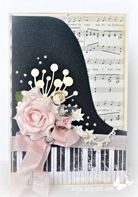 hand crafted card from Bligu: Musically ... beautiful version of the piano shaped card ... black, white and pale pink ... sheet music background ... edge of grand piano ... montage of delicate die cuts, ribbon and artificial rose ... gorgeous & elegant!!
