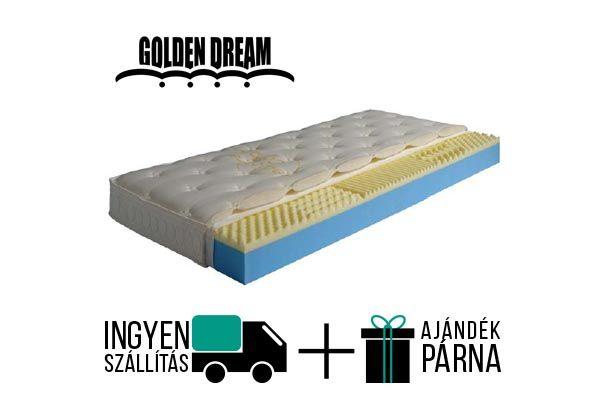 Golden Dream Memostar vákum csomagolt memóriahab matrac. 16cm magas, félkemény konfortú, 5 ergonómiai zónával. 2 féle levehető és mosható huzattal kapható. A gyártó 5 év garanciát vállal.  http://matracom.hu/termekek/memoriahab-matrac/golden-dream-memostar-memoriahabos-vakuum-matrac/