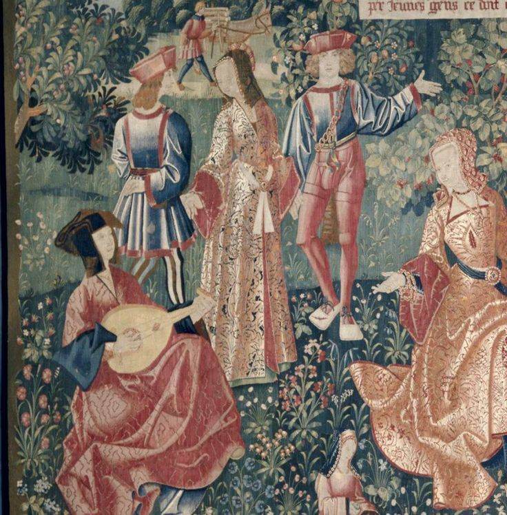 Chateau de Chaumont Tapestry Set: Youth (detail). 1500-1510. Repository: The Cleveland Museum of Art  (The lutist, and standing lady - wrap gowns)