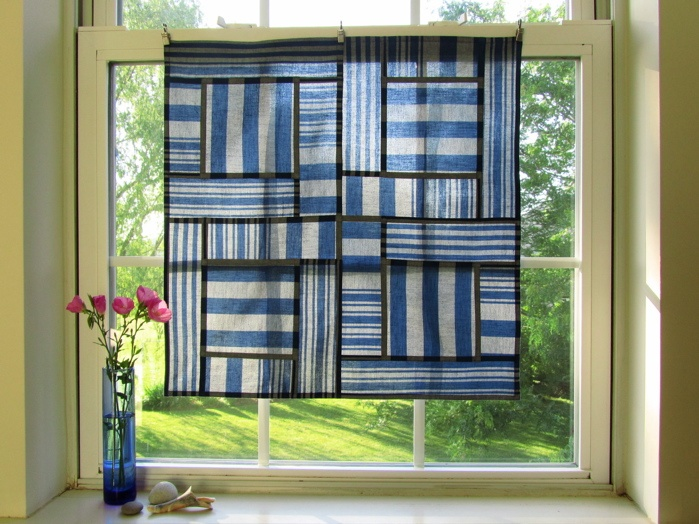 See-through window hanging:  Pojagi patchwork