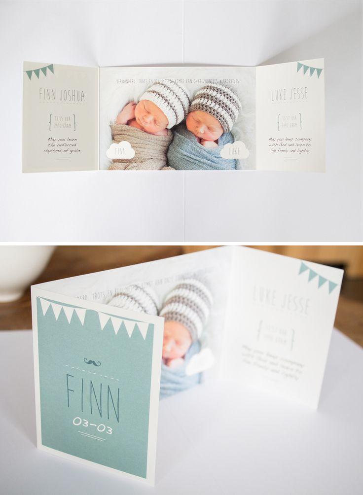 Geboortekaartje-tweeling-mint-finn-luke
