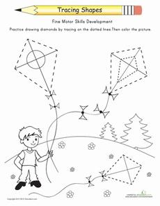 Tracing Shapes: Diamonds Worksheet