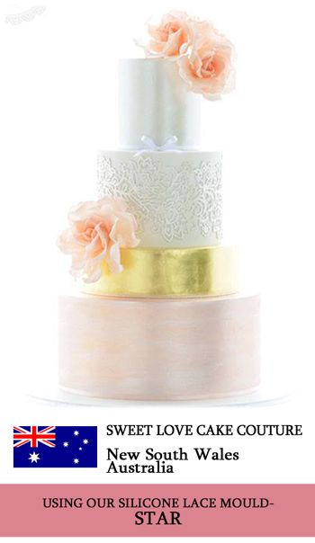 Crystal Candy's STAR silicone lace mould used to make beautiful edible lace for this cake. www.crystalcandy.co.za