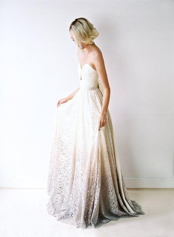 Taylor / / un Dip-teints, robe de mariée dentelle