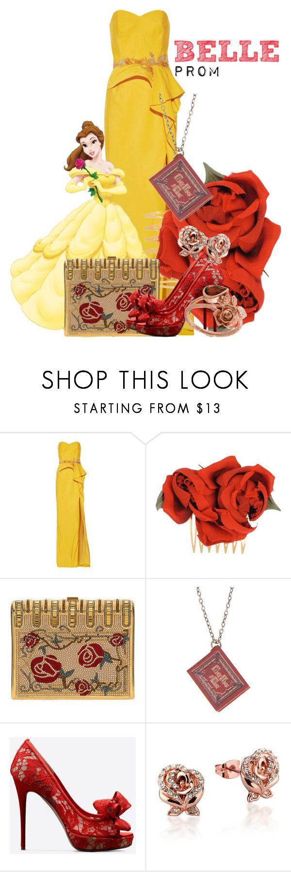 """""""Belle"""" by janastasiagg ❤ liked on Polyvore featuring Notte by Marchesa, Dolce&Gabbana, Judith Leiber, Disney, Valentino and Alex Monroe"""