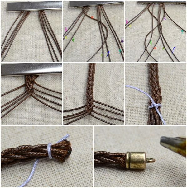 How to Make a Friendship Bracelet with 8 Strings and Pearl Dangles, Mar 18, 2014