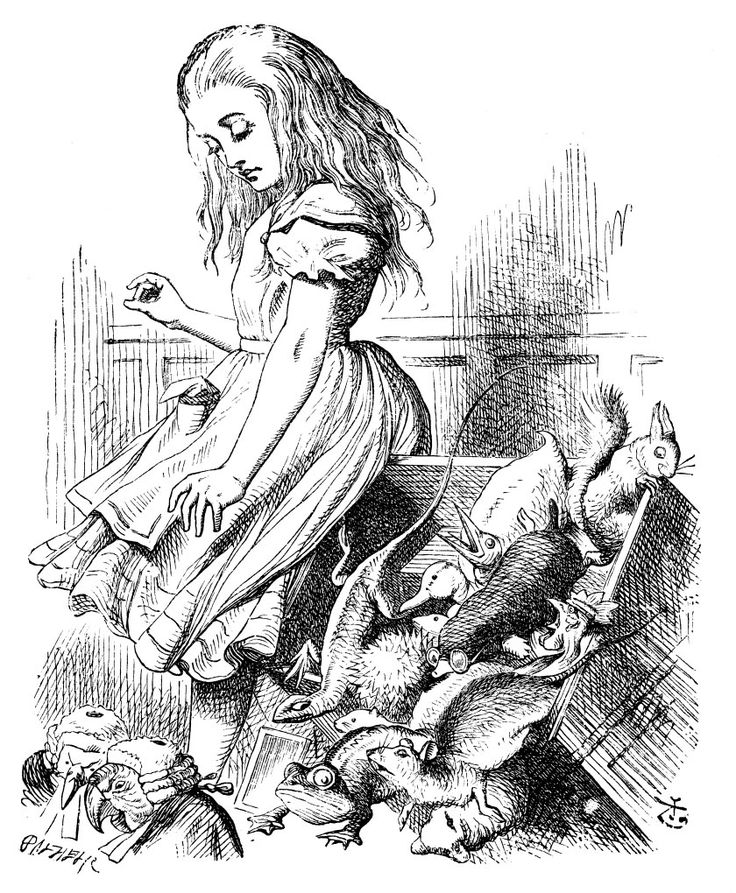 Alice growing in court    Lewis Carroll's Alice's Adventures in Wonderland, drawn by John Tenniel.