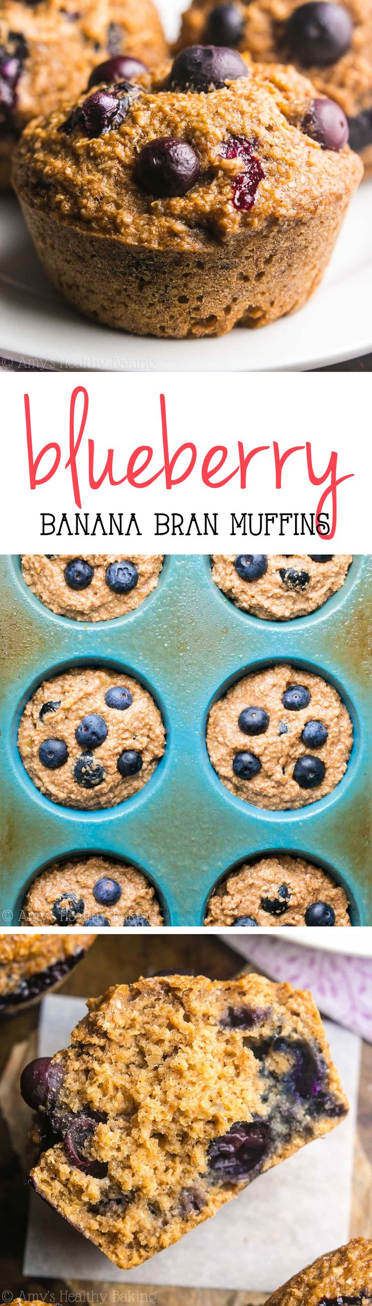 Healthy Blueberry Banana Bran Muffins -- an easy, no-fuss recipe for the most tender bran muffins you'll ever eat! Just 112 calories!