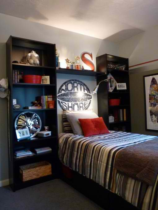 Stylish Black Boys Bedroom With Small Bed  #KBHome