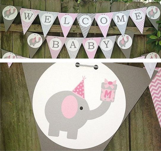 Pink And Gray Elephant Baby Shower Decorations: Pink Elephant Baby Shower Banner