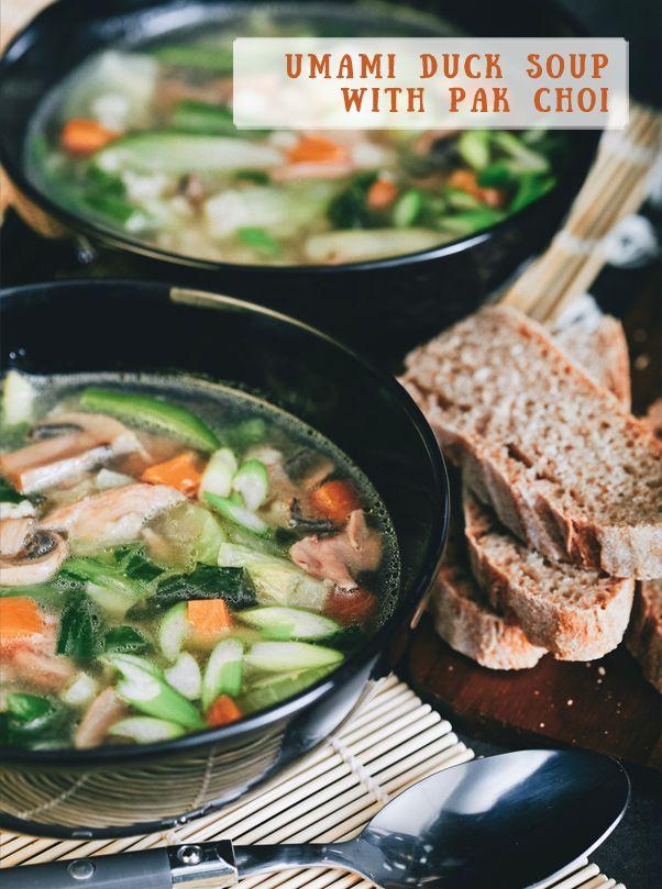 Umami duck soup with pak choi Kačacia polievka s pak choi