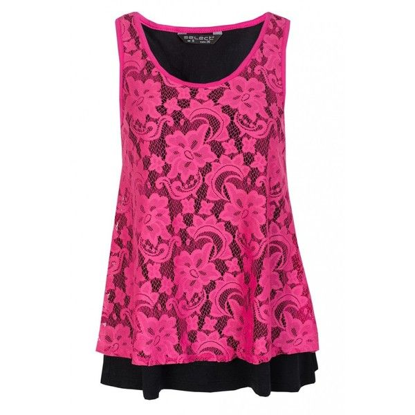 Hot Pink Double Layer Lace Vest ($12) ❤ liked on Polyvore featuring tops, shirts, tank tops, 10. tops., layering tank tops, hot pink top, lace tank, pink tank top and vest shirt