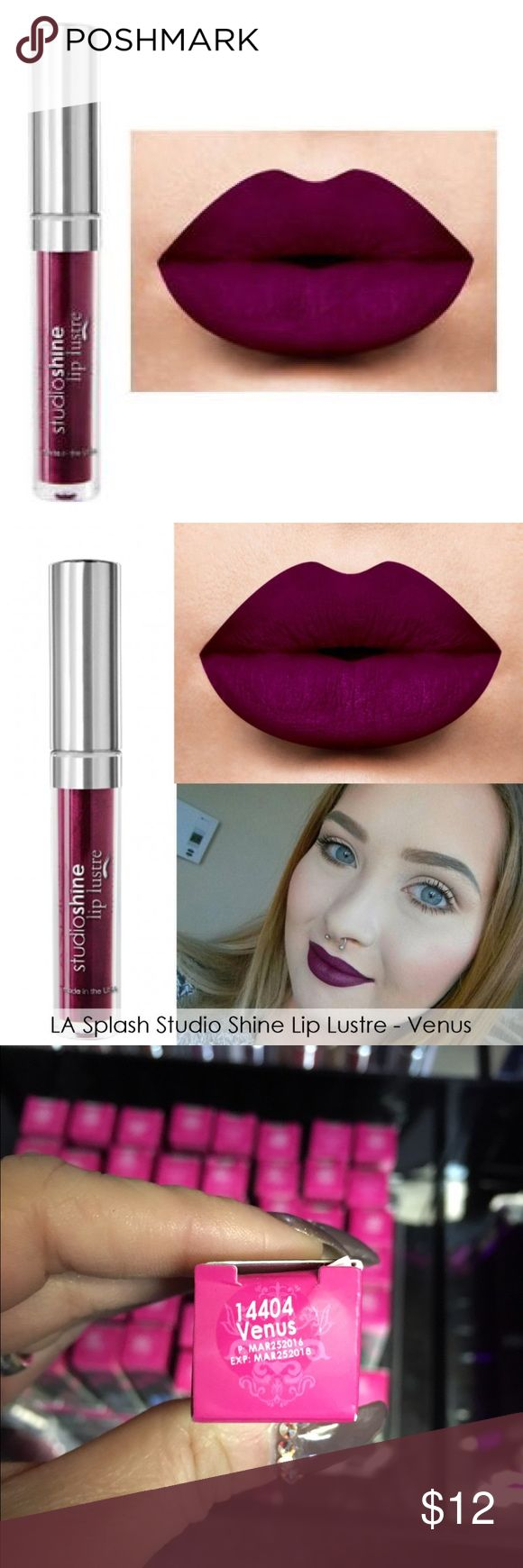 NEW LA SPLASH STUDIO SHINE IN VENUS Fairy tales do come true with LA SPLASH fairy dusted waterproof StudioShine Lip Lustre. Specially formulated with the highest quality pigments & pearls.   Care recommendation: please note, Liquid to matte lipsticks contain a drying agent to deliver the liquid to matte effect.   To extend the life of  your lippies It is recommended to close tightly after each use, keep away from direct sunlight and store in a cool/room temp area.  ASK ME TO BUNDLE YOUR…