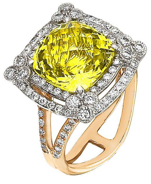 Diamond Ring, .81 Carat Diamonds 5.33 Carat Quartz on 14K Rose & White Gold