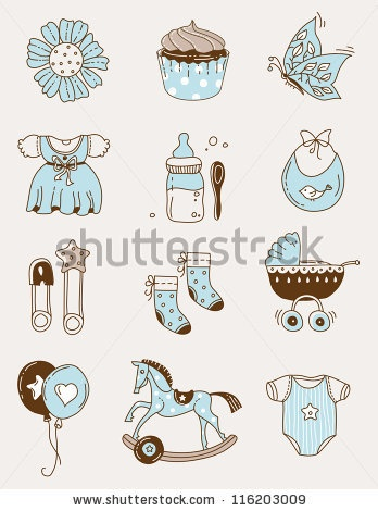 stock vector : Cute baby icons for postcards, charts, invitations or scrapbooks