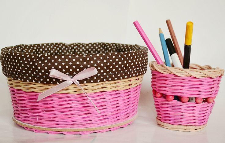ružový set - košík a ceruzkovník