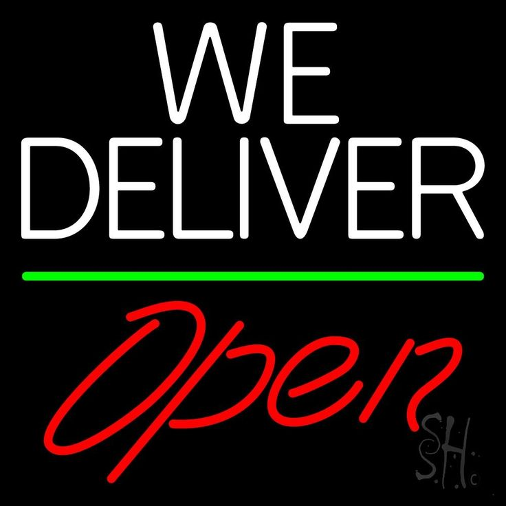 White We Deliver Green Line Open Neon Sign 24 Tall x 24 Wide x 3 Deep, is 100% Handcrafted with Real Glass Tube Neon Sign. !!! Made in USA !!!  Colors on the sign are White, Green and Red. White We Deliver Green Line Open Neon Sign is high impact, eye catching, real glass tube neon sign. This characteristic glow can attract customers like nothing else, virtually burning your identity into the minds of potential and future customers.