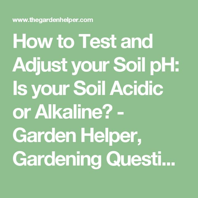 How to Test and Adjust your Soil pH: Is your Soil Acidic or Alkaline? - Garden Helper, Gardening Questions and Answers