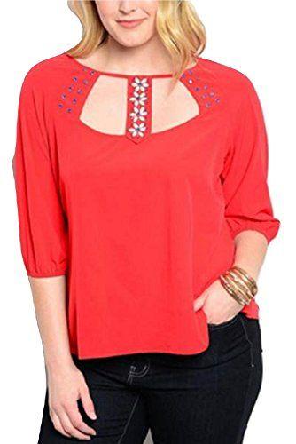 Womens Woven Top Solid Red Embellished Beaded Neck ¾ Slee... https://www.amazon.com/dp/B0772TV55K/ref=cm_sw_r_pi_dp_U_x_4KtRAbJRXZK7P
