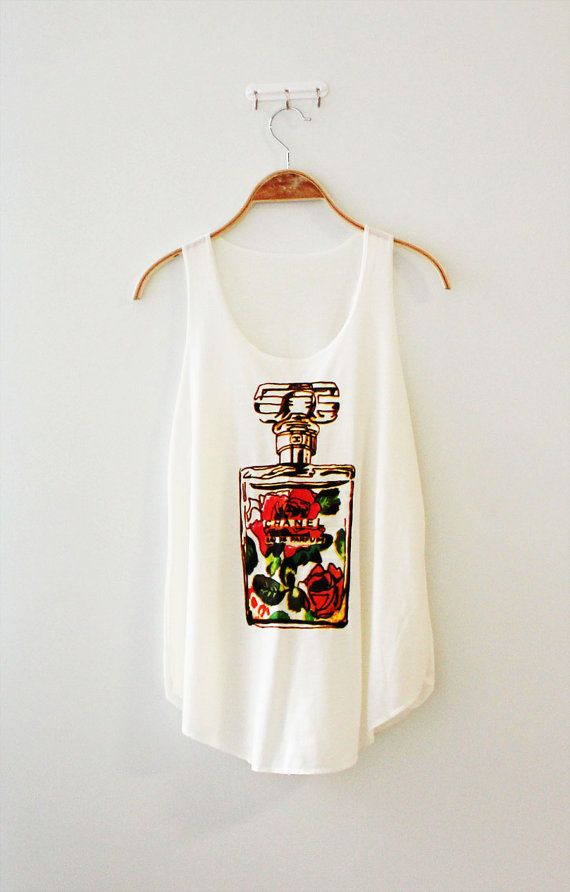 Chanel tshirt chanel perfume shirt women's tank white by TheLillip